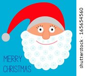 face of santa claus. snowflakes.... | Shutterstock . vector #165654560