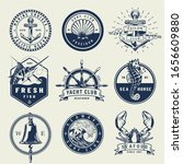 vintage monochrome nautical... | Shutterstock . vector #1656609880