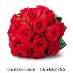 Stock photo round bouquet of red roses over white background 165662783