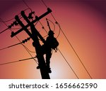 Silhouette Of Power Lineman...