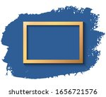 gold frame and blue ink brush... | Shutterstock .eps vector #1656721576