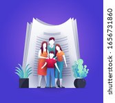 happy family standing in front... | Shutterstock .eps vector #1656731860