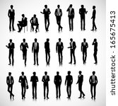 set of business men silhouettes ... | Shutterstock .eps vector #165675413
