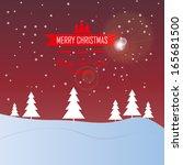merry christmas landscape  ... | Shutterstock .eps vector #165681500