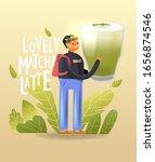 young cartoon joyful man holds...   Shutterstock .eps vector #1656874546