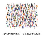 a group of people walk and... | Shutterstock .eps vector #1656959236