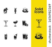 drink icons set with daiquiri...