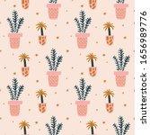 plant lovers seamless pattern.... | Shutterstock .eps vector #1656989776