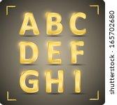 3d  set of gold vector alphabet.... | Shutterstock .eps vector #165702680