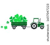 cute green tractor pulling... | Shutterstock .eps vector #1657047223