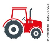 Cute Red Tractor Vector...