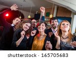 people dancing on a disco pub   ... | Shutterstock . vector #165705683