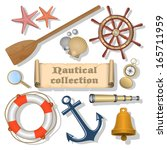 collection of nautical designed ... | Shutterstock . vector #165711959