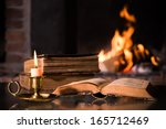 an open bible book with a... | Shutterstock . vector #165712469