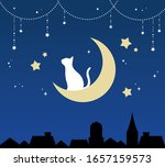 white cat on the moon at night   Shutterstock .eps vector #1657159573