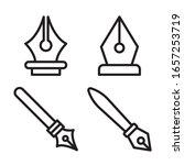 fountain pen icon set. vector...