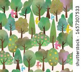 watercolor trees and birds ... | Shutterstock .eps vector #1657307533