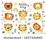 set of cute lions. cartoon... | Shutterstock .eps vector #1657336840