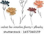 Carnation Flower One Line...