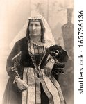 Old photo of young Armenian woman, Russia,1908 year.