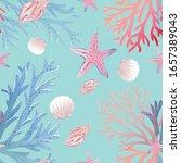 seamless pattern with seashells ... | Shutterstock .eps vector #1657389043
