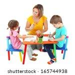 little children drawing with... | Shutterstock . vector #165744938