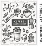 coffee hand drawn elements set. ... | Shutterstock .eps vector #1657488346