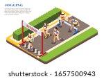 sprint hurdle race runners... | Shutterstock .eps vector #1657500943