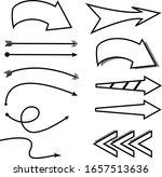 black arrows set simple pointer | Shutterstock .eps vector #1657513636