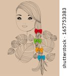 pretty girl with four color bows | Shutterstock .eps vector #165753383