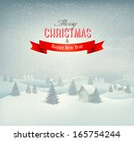 christmas winter landscape... | Shutterstock .eps vector #165754244