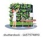 cafe botanical decor 2d vector... | Shutterstock .eps vector #1657574893