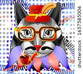 the cat is a hipster. geometric ... | Shutterstock .eps vector #1657585006