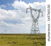 electricity tower prairie | Shutterstock . vector #165760130