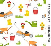 gardening seamless pattern on... | Shutterstock .eps vector #1657657816