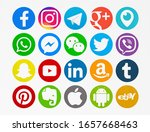 Small photo of Valencia, Spain - February 16, 2020: Collection of popular social media logos printed on paper: Facebook, Instagram,Telegram,Google Plus, Periscope,WhatsApp,Messenger, WeChat,Twitter,Viber, Snapchat.