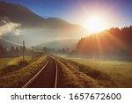 Railway And Train In The Alpes...