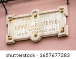 Small photo of A plaque on the exterior of Beethoven-Haus, or Beethoven House in the city of Bonn, Germany. The plaque says In This House, Ludwig van Beethoven was Born on 17th December 1770.