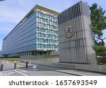Small photo of GENEVA, SWITZERLAND -5 APR 2019- Exterior view of the building of the World Health Organization (OMS WHO), a United Nations international organization located in Geneva, Switzerland.