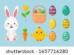 happy easter day set. cartoon... | Shutterstock .eps vector #1657716280