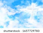 Blue Sky With Clouds And Cross...
