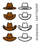 cowboy hat set. collection icon ... | Shutterstock .eps vector #1657732459