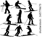 Mountain Skier   Woman Speedin...