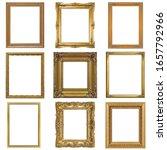 set of golden frames for... | Shutterstock . vector #1657792966