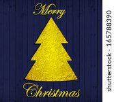 merry christmas gold text  tree ... | Shutterstock . vector #165788390