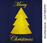 merry christmas gold text  tree ... | Shutterstock . vector #165788390