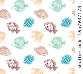 seamless pattern of color fish... | Shutterstock .eps vector #1657937173
