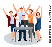 employees who are overjoyed... | Shutterstock .eps vector #1657955029