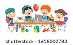 little children studying at... | Shutterstock .eps vector #1658002783