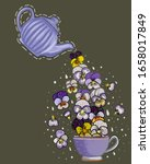 Teapot Purple With Beautiful...